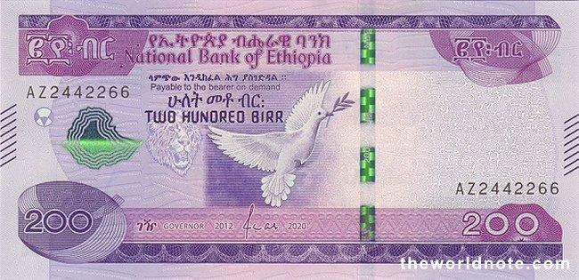 100 Ethiopian birr 2020 the front is Pigeon
