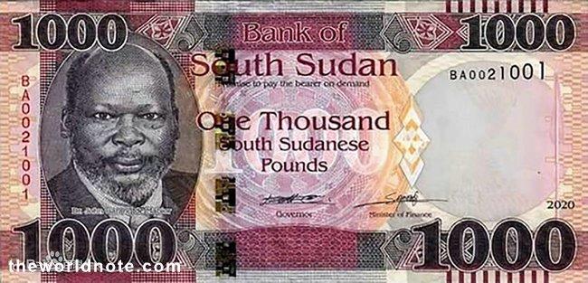 1000 South Sudanese pound the front is Dr. John Garang de Mabior