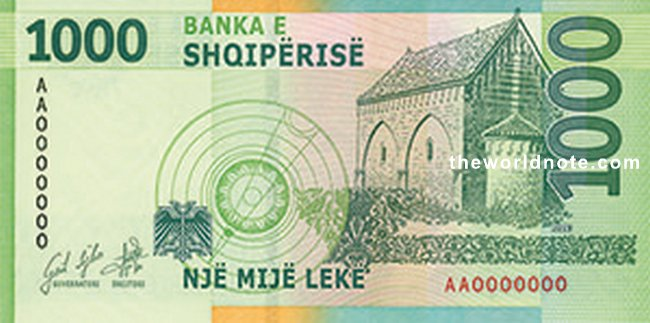1000 Albanian lek 2021 the back is Astronomical drawing (eclipse of the Moon), church of Vau i Dejes