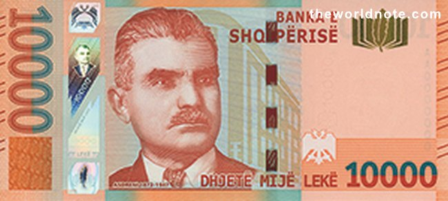 10000 Albanian lek the front  accompanied with the portrait of the distinguished poet of the Albanian National Renaissance