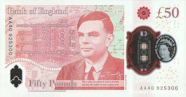 £50 GBP 2021 the back is Alan Turing