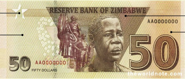 50 Zimbabwean dollar 2021 the back is Tomb of the Unknown Soldier; Mbuya Nehanda (a.k.a.Charwe Nyakasikana)