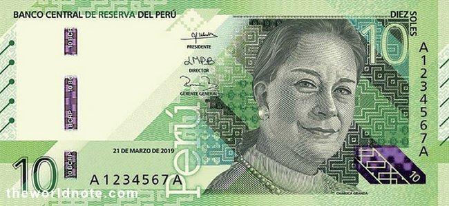 10 Peruvian sol 2021 the front is María Isabel Granda Larco