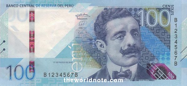 100 Peruvian sol 2021 the front is Pedro Paulet