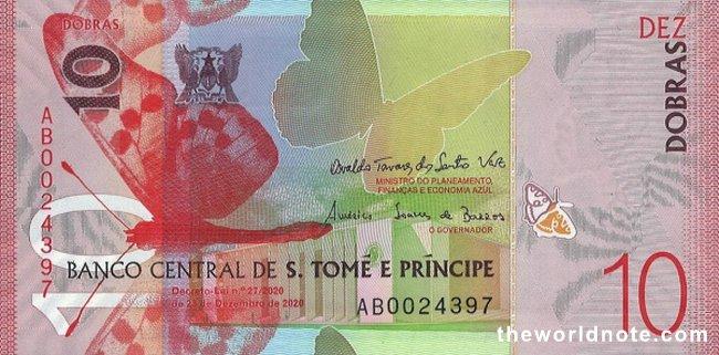 10 São Tomé dobra 2021 the front is   Arms, Acraea niobe butterfly, Banco Central building (São Tomé)